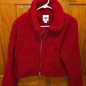 Cropped Red Sherpa Jacket